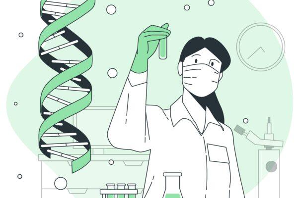 Synteza białka na przykładzie grafiki przedstawiającej naukowca w laboratorium