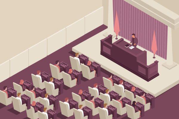 Stereotyp sejmu na przykładzie grafiki obrazującej wygłaszanie mowy w parlamencie